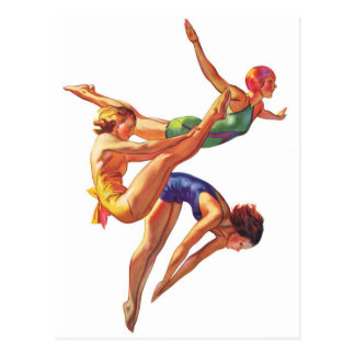 Retro Vintage Sports Diving Swimmers Diving Art Postcard