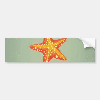 Retro VIntage Starfish On Green Backround Pattern Bumper Sticker