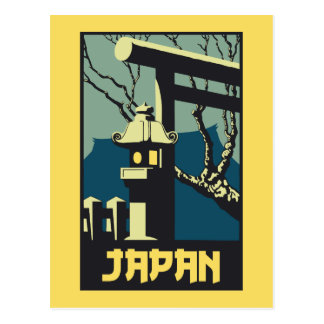 Retro vintage style Japan travel advertising Postcard
