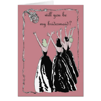 retro vintage style will you be my bridesmaid greeting card