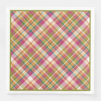 Retro Vintage Summer Plaid Tartan Squares Pattern Disposable Napkins