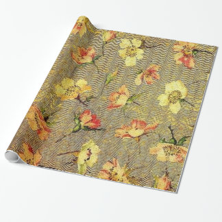 Retro Vintage Swirls Floral Coral Peach Yellow