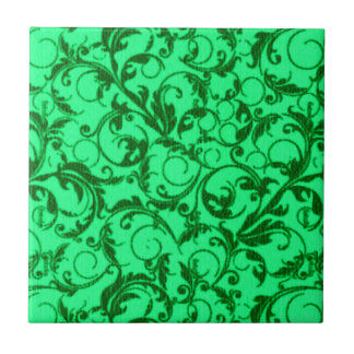 Retro Vintage Swirls Green Small Square Tile