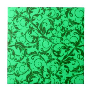 Retro Vintage Swirls Green Small Square Tile