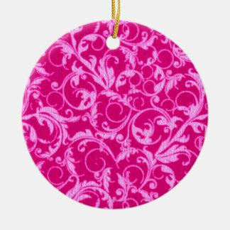 Retro Vintage Swirls Hot Pink Round Ornament