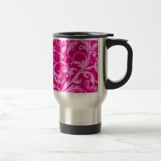 Retro Vintage Swirls Hot Pink Travel Commuter Mug