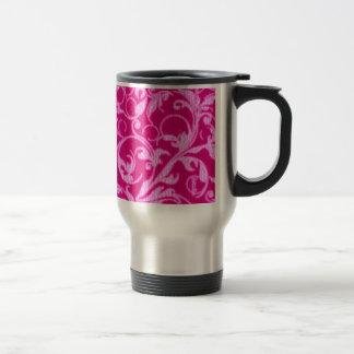 Retro Vintage Swirls Hot Pink Travel Commuter Mug