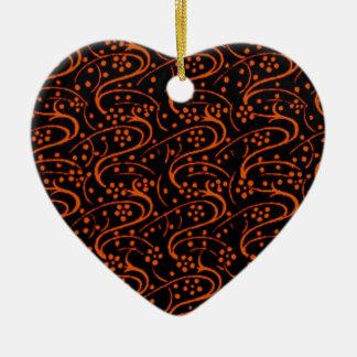 Retro Vintage Swirls Orange Black Heart Ornament