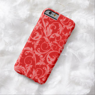 Retro Vintage Swirls Red Barely There iPhone 6 Case