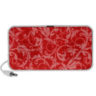Retro Vintage Swirls Red Portable Speaker