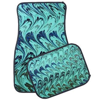 Retro Vintage Swirls Teal Blue Waves Car Mat