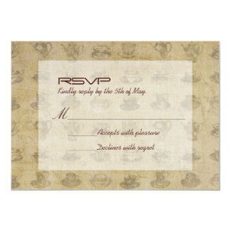 Retro Vintage Tea Cups Wedding RSVP Card 13 Cm X 18 Cm Invitation Card