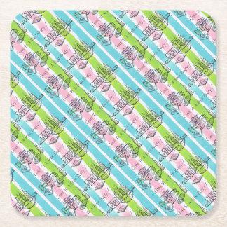 Retro/Vintage Teenage Party Invite Square Paper Coaster