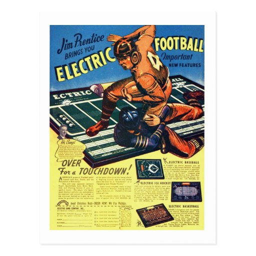 Retro Vintage Toy 'Electric Football Game' Postcards