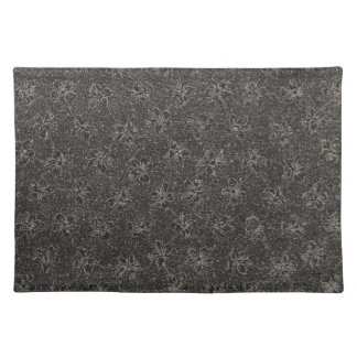 Retro Vintage Violets Charcoal Black Placemats