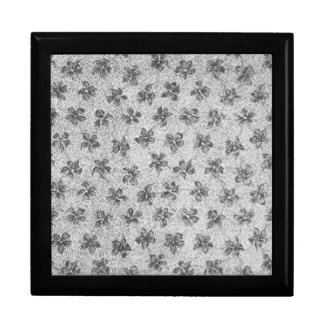 Retro Vintage Violets Charcoal Gray Black Gift Box