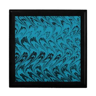 Retro Vintage Waves Peacock Blue Black Gift Box
