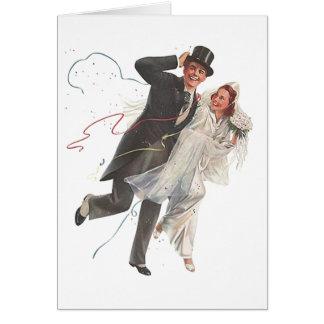 Retro Vintage Wedding Bride Groom Blank Note Cards