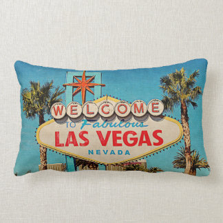 Retro Vintage Welcome to Fabulous Las Vegas NEVADA Lumbar Cushion