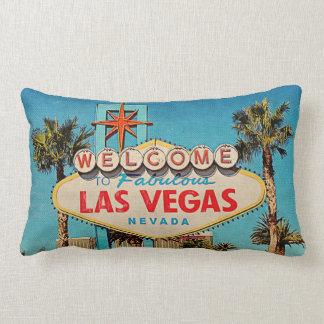 Retro Vintage Welcome to Fabulous Las Vegas NEVADA Lumbar Cushion
