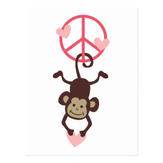 Retro Vinttage Hanging Peace Monkey - Blue or Pink Postcard
