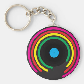 Retro Vinyl Basic Round Button Key Ring
