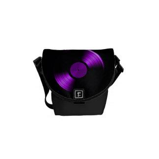 Retro Vinyl Record Album in Purple Messenger Bag