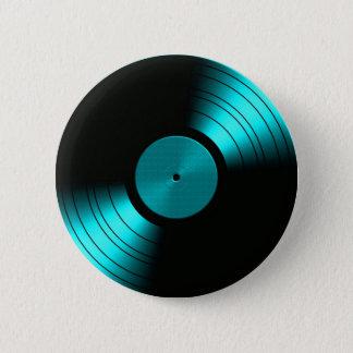 Retro Vinyl Record Album in Teal 6 Cm Round Badge