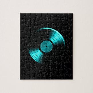 Retro Vinyl Record Album in Teal Jigsaw Puzzles