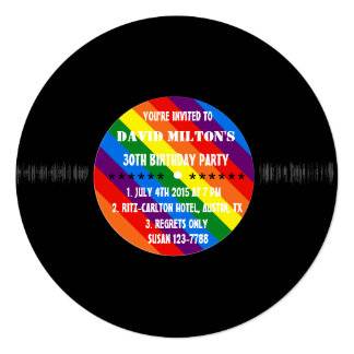 Retro Vinyl Record Gay Pride Custom Party Invites