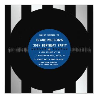 Retro Vinyl Record l Modern Birthday Party Invites Personalized Announcement