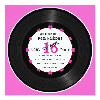 Retro Vinyl Record l Modern Sweet 16 B'day Card