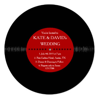 Retro Vinyl Record Modern Wedding Invites