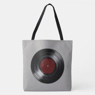 retro vinyl record music tote bag