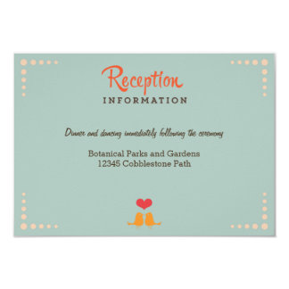 Retro Vinyl Record Orange Sky Blue Wedding Insert 9 Cm X 13 Cm Invitation Card