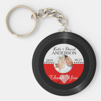 Retro Vinyl Record Photo Wedding Favor Thank You Basic Round Button Key Ring
