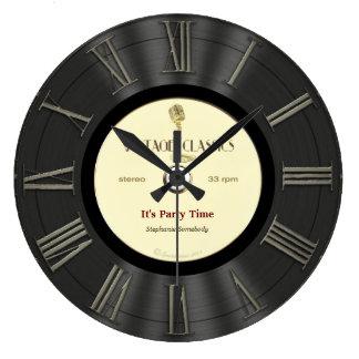 Retro Vinyl Record Printed Design Large Clock