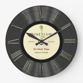 Retro Vinyl Record Printed Design Wallclock
