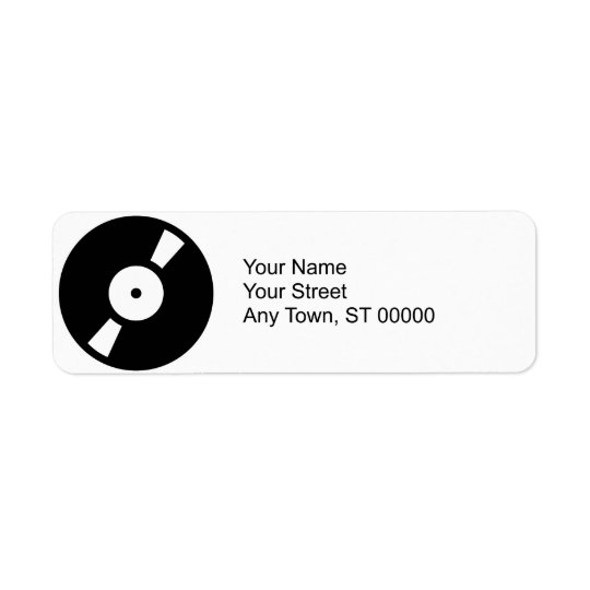 retro vinyl record return address label