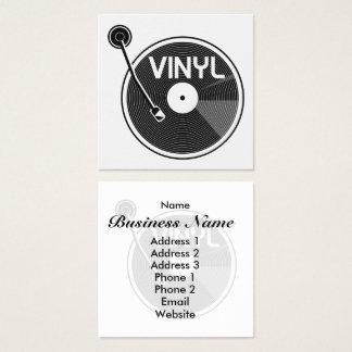 Retro Vinyl Record Turntable Square Business Card