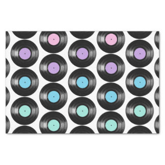 Retro Vinyl Records Colorful Pattern Design Tissue Paper