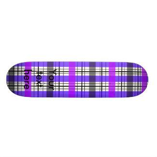 Retro violet purple and white plaid skate boards