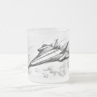 Retro vision-17-Supersonic jet plane Frosted Glass Mug