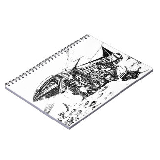 Retro vision-18, Space mining Spiral Notebook