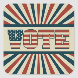 Retro vote, all gear square sticker