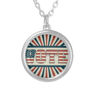 Retro voting gear silver plated necklace