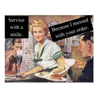 Retro waitress Service With A Smile Postcard