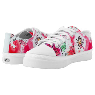 retro watercolor bouquet lowtop lace ups printed shoes