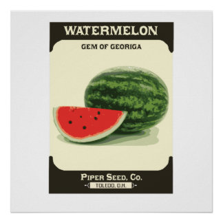 Retro Watermelon Seed Packet Melon Poster Print