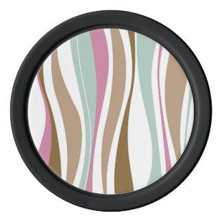Retro Wavy Brown, Blue & Pink Design Set Of Poker Chips